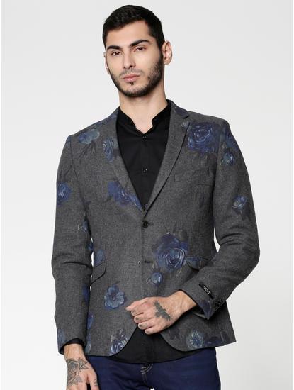 Dark Grey Floral Print Blazer