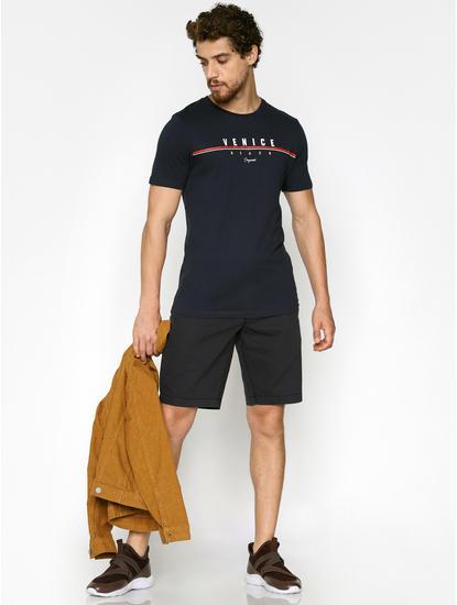 Navy Blue Text Print Crew Neck T-Shirt
