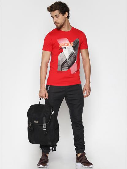Red Logo Print Crew Neck T-Shirt