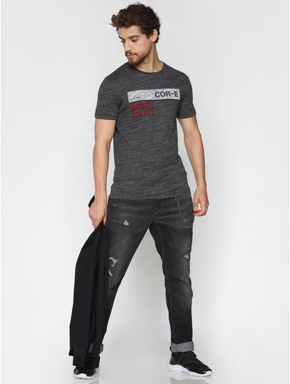 Dark Grey Logo Print Crew Neck T-Shirt