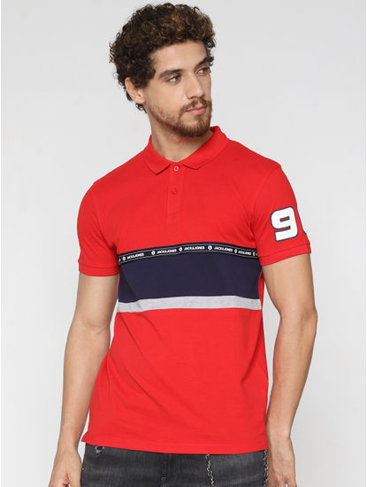 Red Patch Print Polo Neck T-Shirt