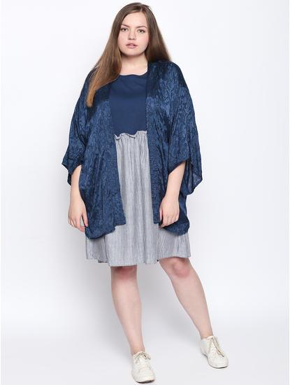 Teal Blue Striped Fit & Flare Dress