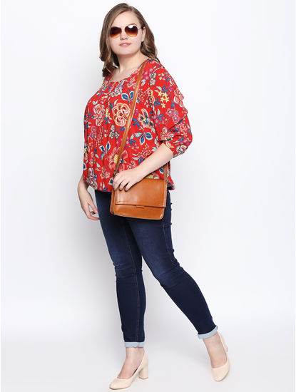 Bright Red Floral Print Top