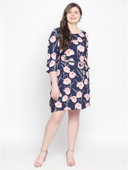Navy Blue Floral Print Fit & Flare Dress