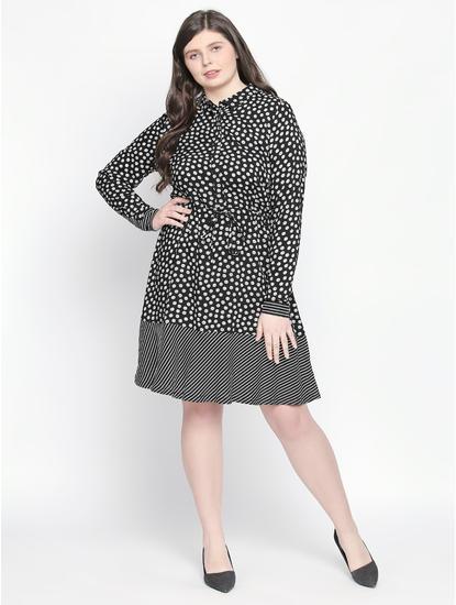 Black All Over Print Shirt Dress