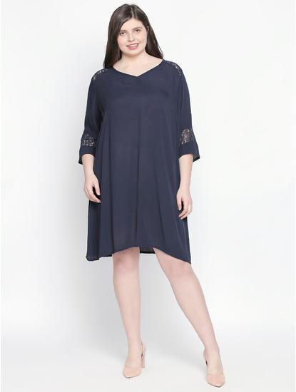 Navy Blue Lace Shift Dress