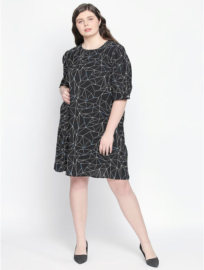 Black All Over Print Shift Dress