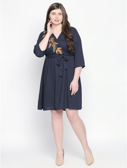 Navy Blue Embroidered Fit & Flare Dress