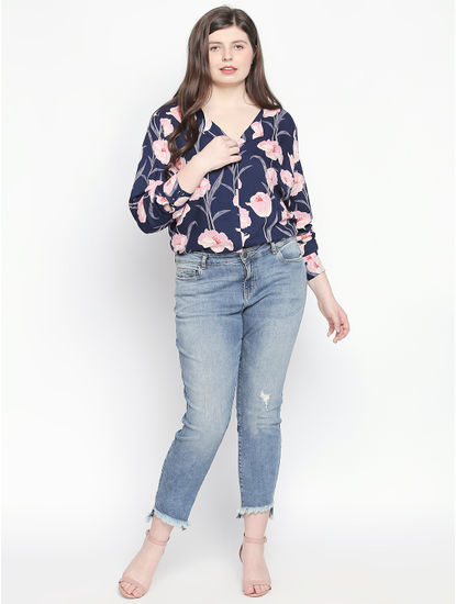 Blue Frayed Hem Slim Fit Jeans