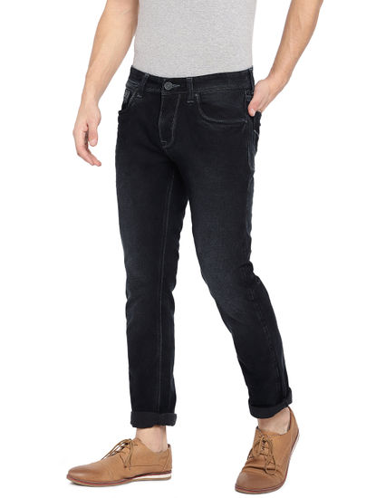 Black Solid Straight Jeans