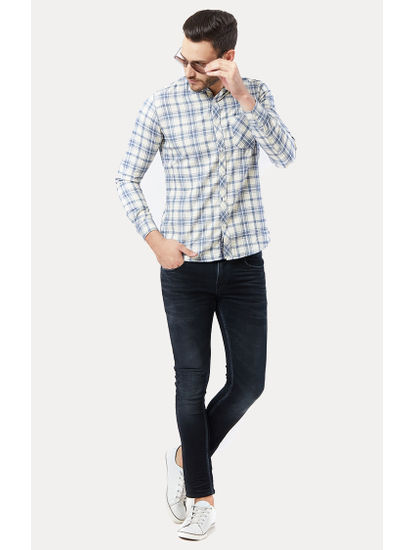 Off White and Blue Checked Casual Shirt