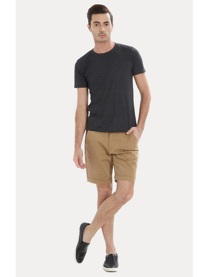 Light Brown Checked Shorts
