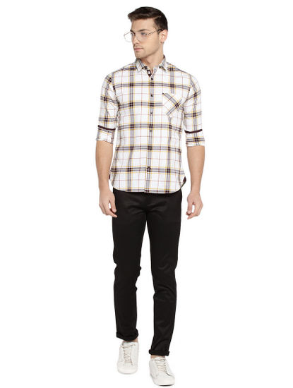 Off White and Grey Checked Casual Shirt