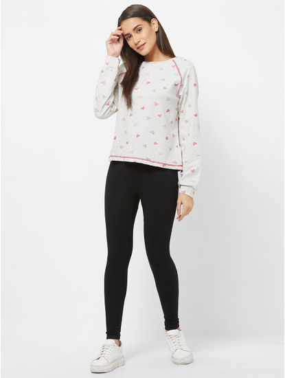 Cute Heart Print Sweatshirt
