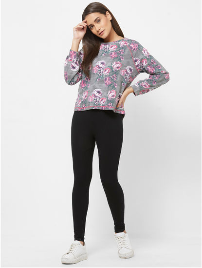 Pretty Floral Print Sweatshirt