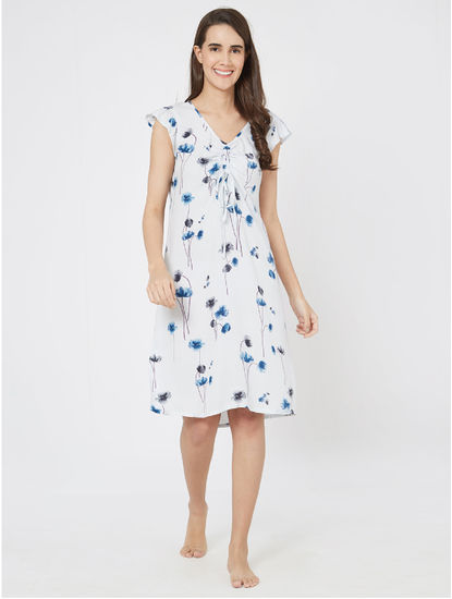 Pretty Floral Ruched Nightdress