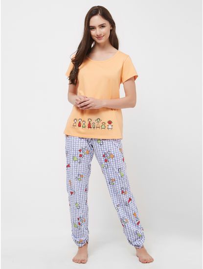 Tribal Checked T-shirt Pyjama Set
