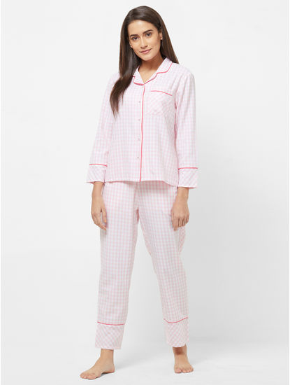 Classic Rayon Checked Shirt Pyjama Set