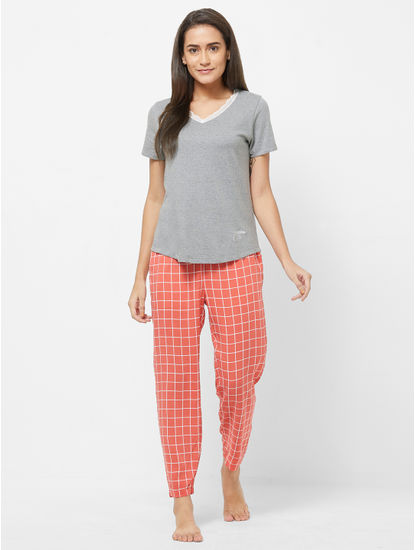 Lace Trimmed Checked Pyjama Set