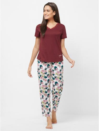 Lace Trimmed Floral Pyjama Set