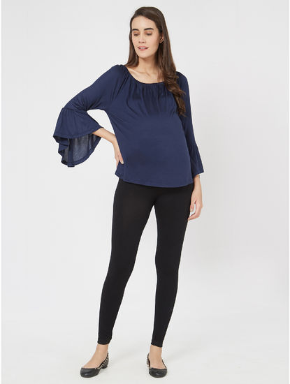 Pretty Blue Viscose Maternity Top
