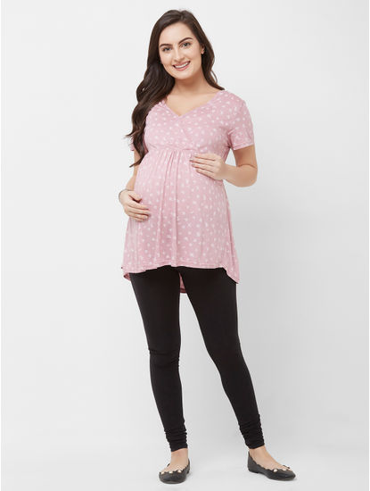 Maternity Printed Leaves Top