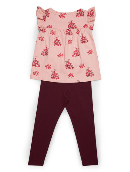Girls Stylish Peach Leggings Set