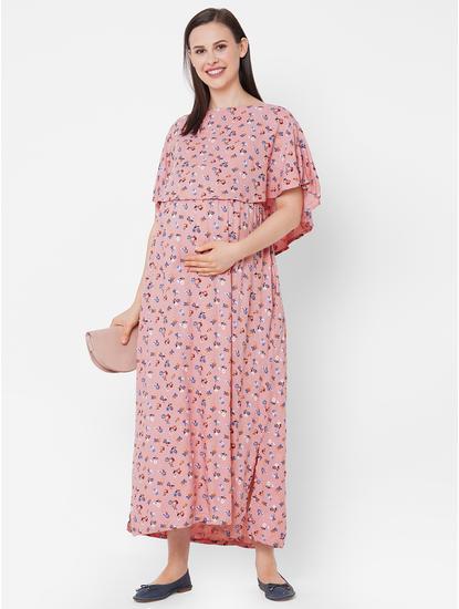 Comfy Floral Maternity Maxi Dress