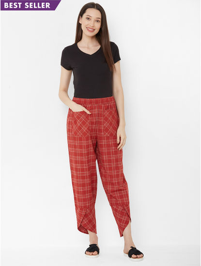 Mystere Paris - Classic, Chic Checked Lounge Pants For Women (Radiant Rust, 100% Cotton)