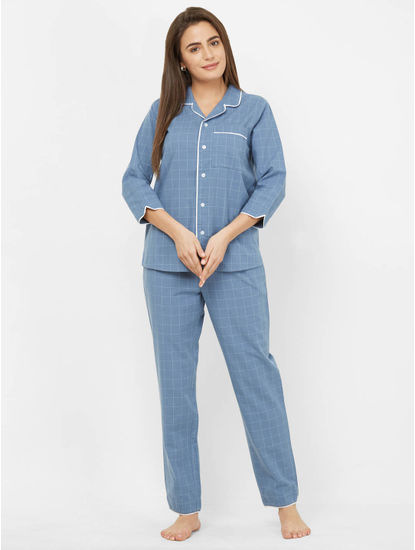 Trendy Blue Cotton Checked Pyjama Set