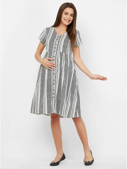 Classic Striped Maternity Dress