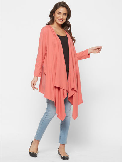 Chic Orange Cotton Maternity Cardigan