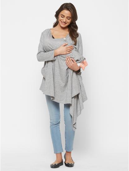 Cute Grey Cotton Maternity Cardigan