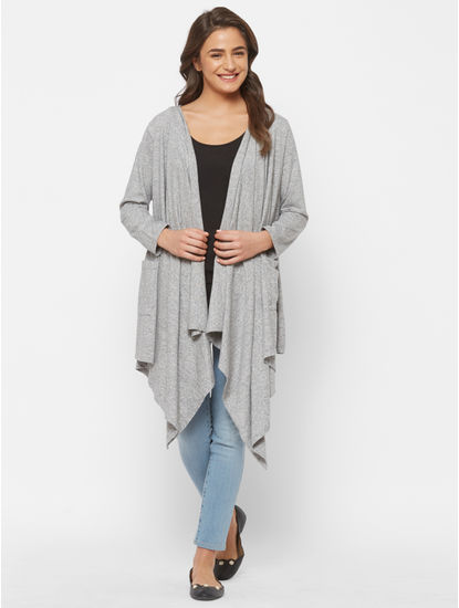 Cute Grey Cotton Maternity Cardigan