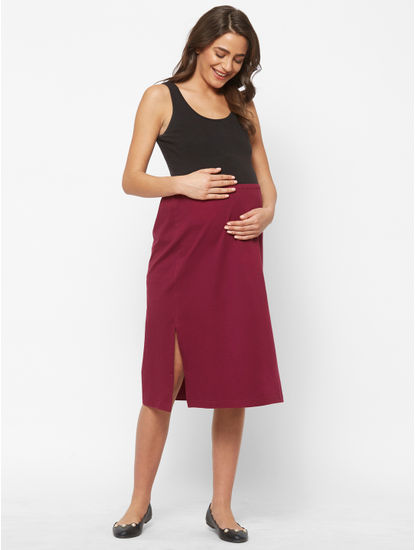 Stylish Maroon Cotton Maternity Skirt