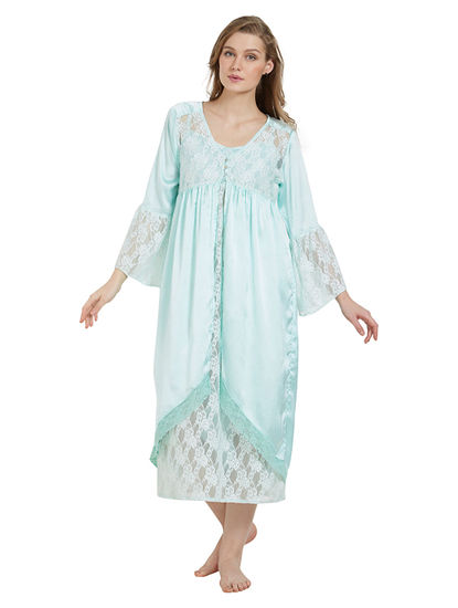 Lacy Satin Robe And Dress Set