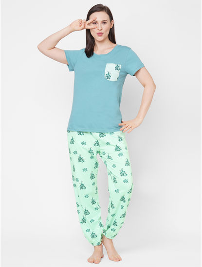 Chic Green Cotton Pyjama Set
