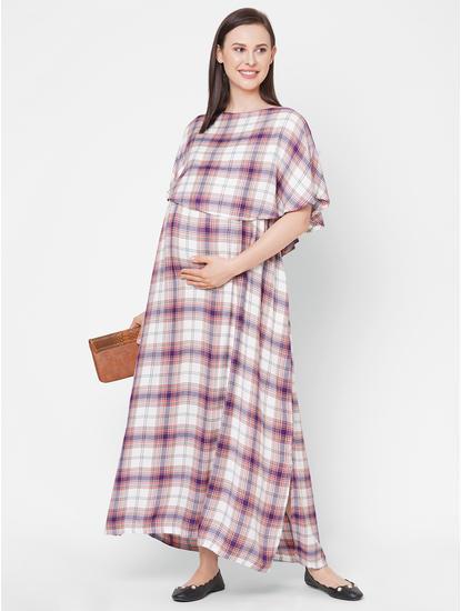 Stylish Checked Maternity Maxi
