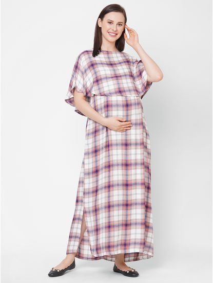 Stylish Checked Maternity Maxi