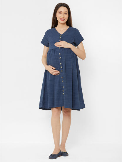 Classic Navy Blue Cotton Maternity Dress