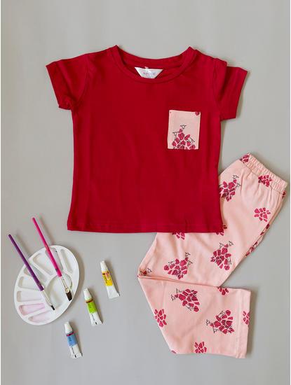 Girls Cute Peach Giraffe Pyjama Set