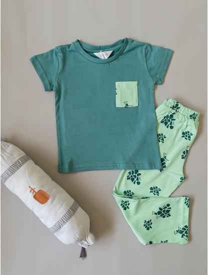Girls Comfy Green Giraffe Pyjama Set