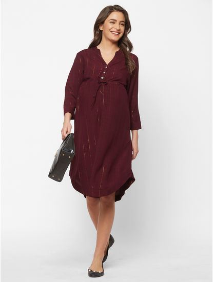 Classy Maternity Checked Dress