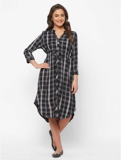 Trendy Rayon Checked Maternity Dress