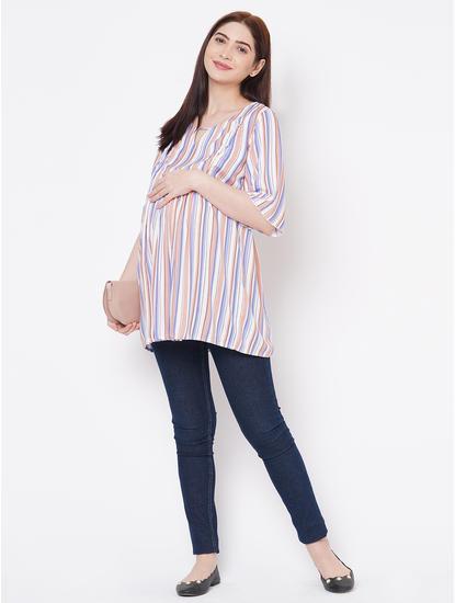 Cute Pink, Purple Rayon Maternity Top
