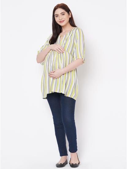Cute Green, Grey Rayon Maternity Top
