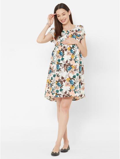 Pretty Floral Rayon Maternity Dress