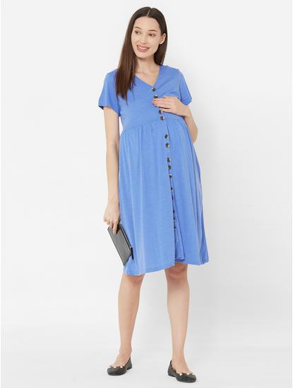 Stylish Blue Cotton Maternity Dress
