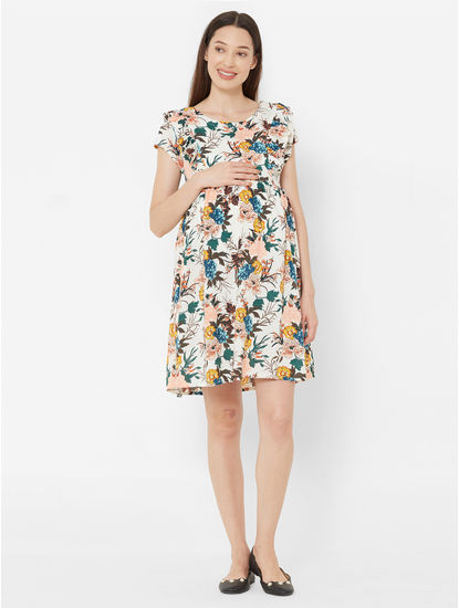 Pretty Floral Rayon Maternity Dress