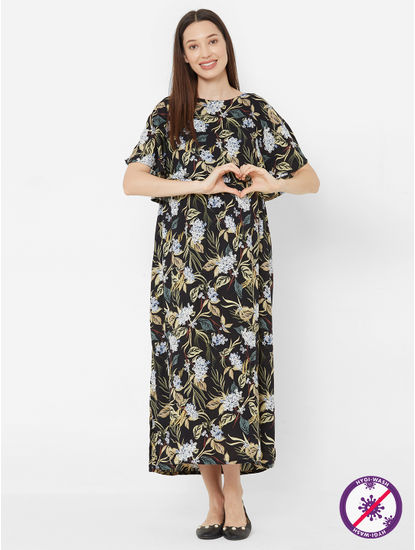 Chic Floral Rayon Maternity Dress